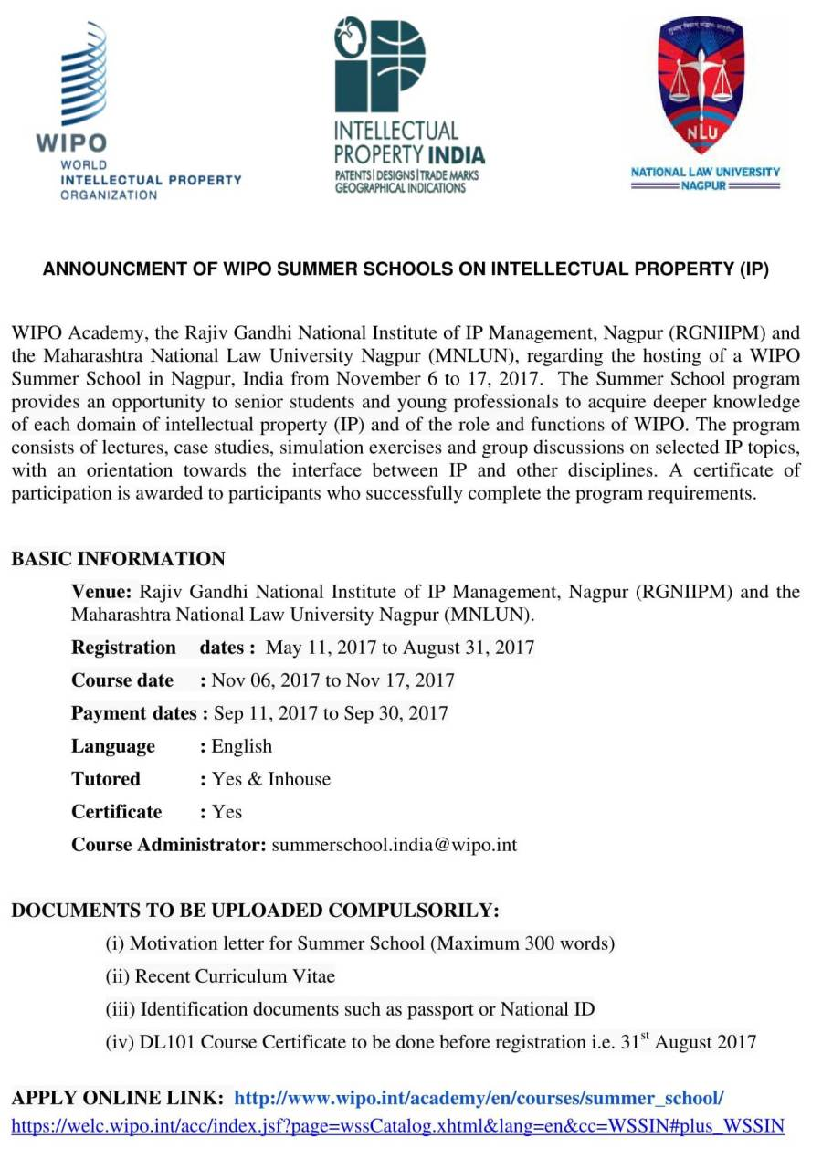 ... at Rajiv Gandhi National Institute of IP Management, Nagpur (RGNIIPM)  and the Maharashtra National Law University Nagpur (MNLUN) : Last Date for  Online ...